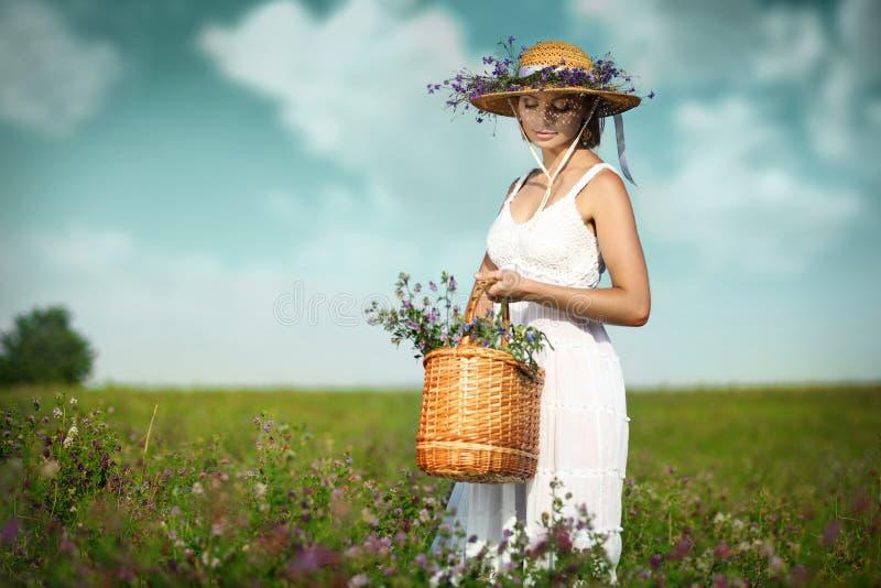 Jovem mulher bonita com as flores no campo imagens de stock