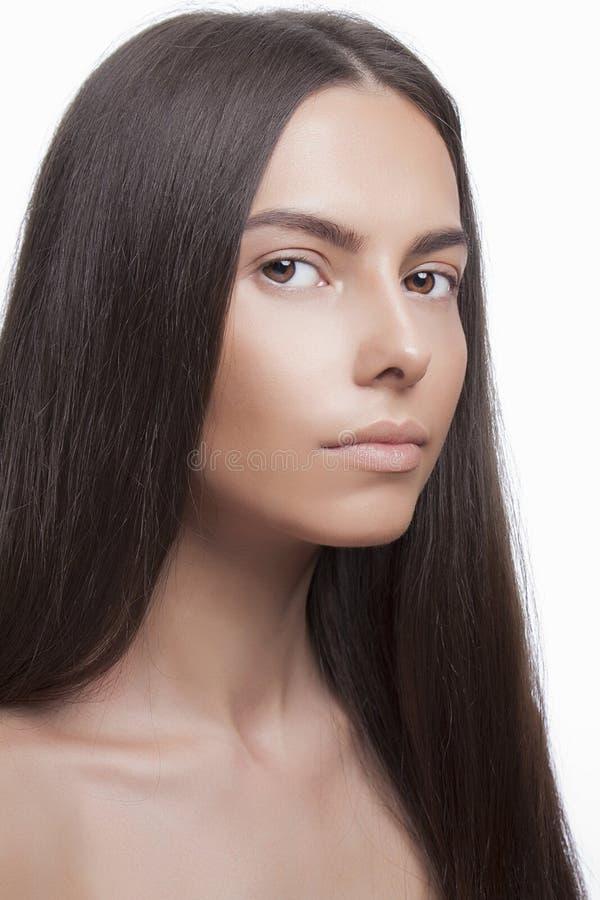 Jovem mulher bonita com cara limpa imagem de stock