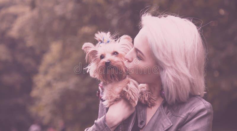 Jovem mulher bonita com o cão pequeno bonito nos braços como um símbolo do amor para animais imagens de stock royalty free