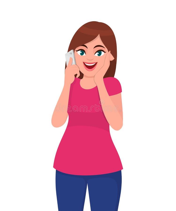 Jovem mulher bonita de sorriso que fala no telefone esperto e em guardar a mão na expressão entusiasmado da cara Estilo de vida m ilustração do vetor