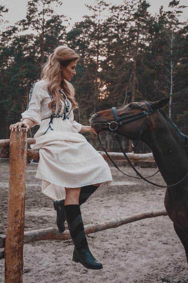 A jovem mulher bonita e elegante que veste o vestido está afagando o cavalo no rancho imagem de stock royalty free