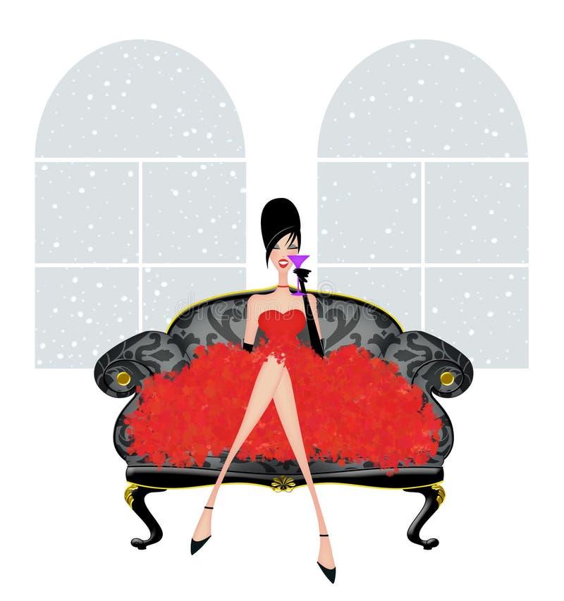 Jovem mulher bonita em um damasco Loveseat em um vestido de partido vermelho ilustração royalty free