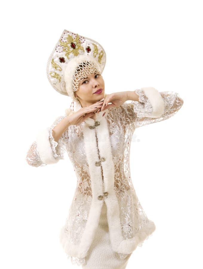 Jovem mulher bonita, feliz, emocional vestida como o sorriso de Santa Claus Carnaval Natal-novo do ano fotografia de stock