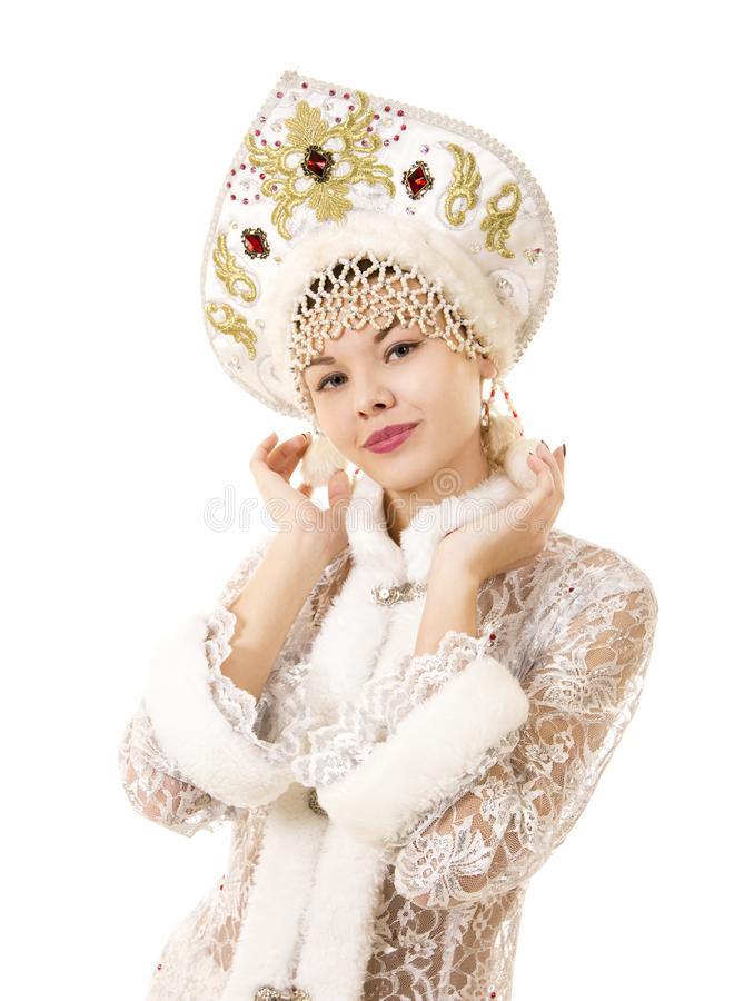 Jovem mulher bonita, feliz, emocional vestida como o sorriso de Santa Claus Carnaval Natal-novo do ano fotografia de stock royalty free