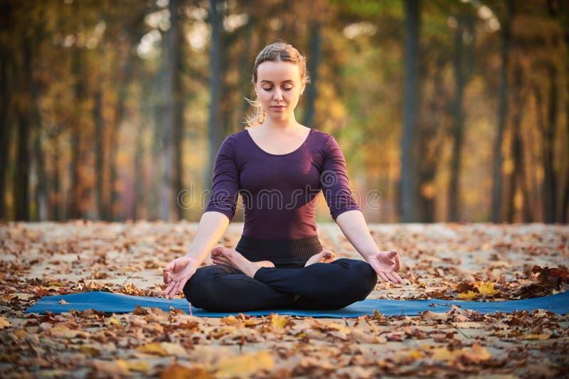 A jovem mulher bonita medita no asana Padmasana da ioga - a pose de Lotus na plataforma de madeira no parque do outono fotografia de stock