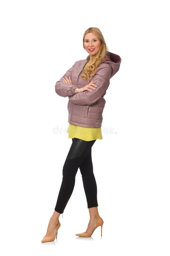 Jovem mulher bonita na blusa amarela fotos de stock