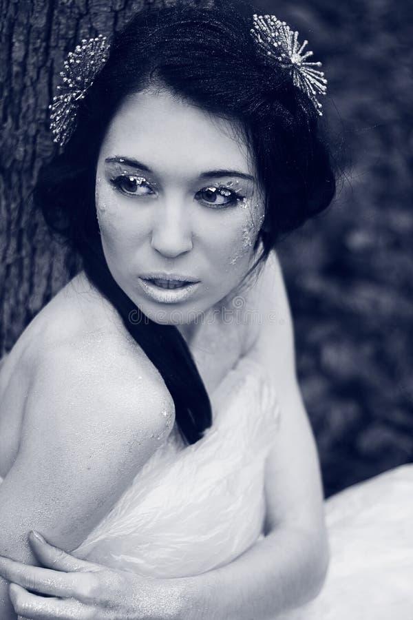 Jovem mulher bonita no gelo foto de stock