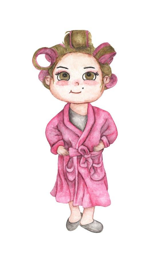 Jovem mulher bonita no roupão cor-de-rosa com encrespadores de cabelo Rolos cor-de-rosa do cabelo Isolado no fundo branco Mão tir ilustração royalty free