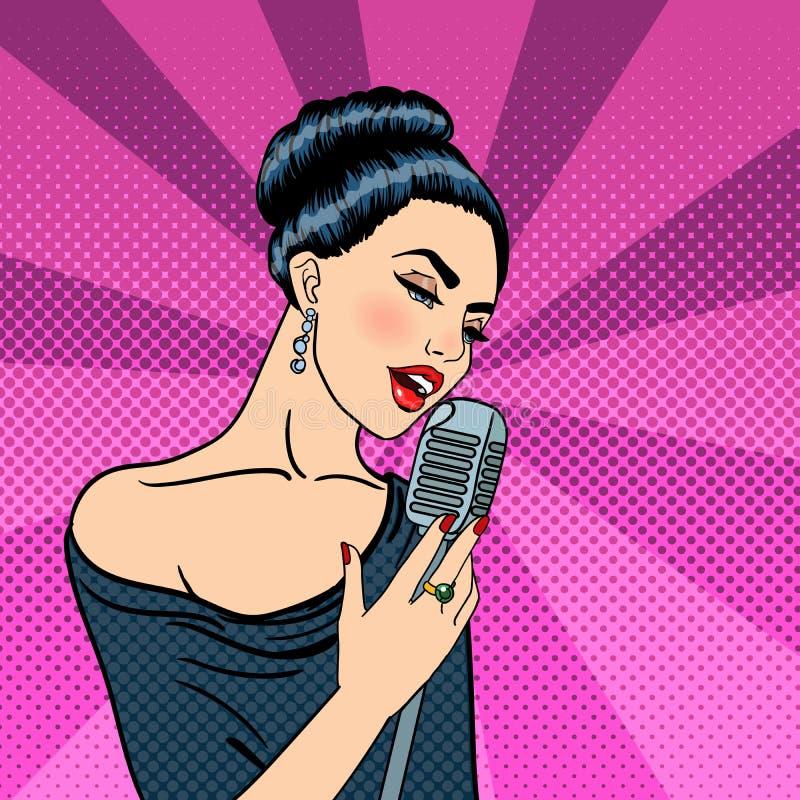 Jovem mulher bonita que canta com microfone Pop art ilustração stock