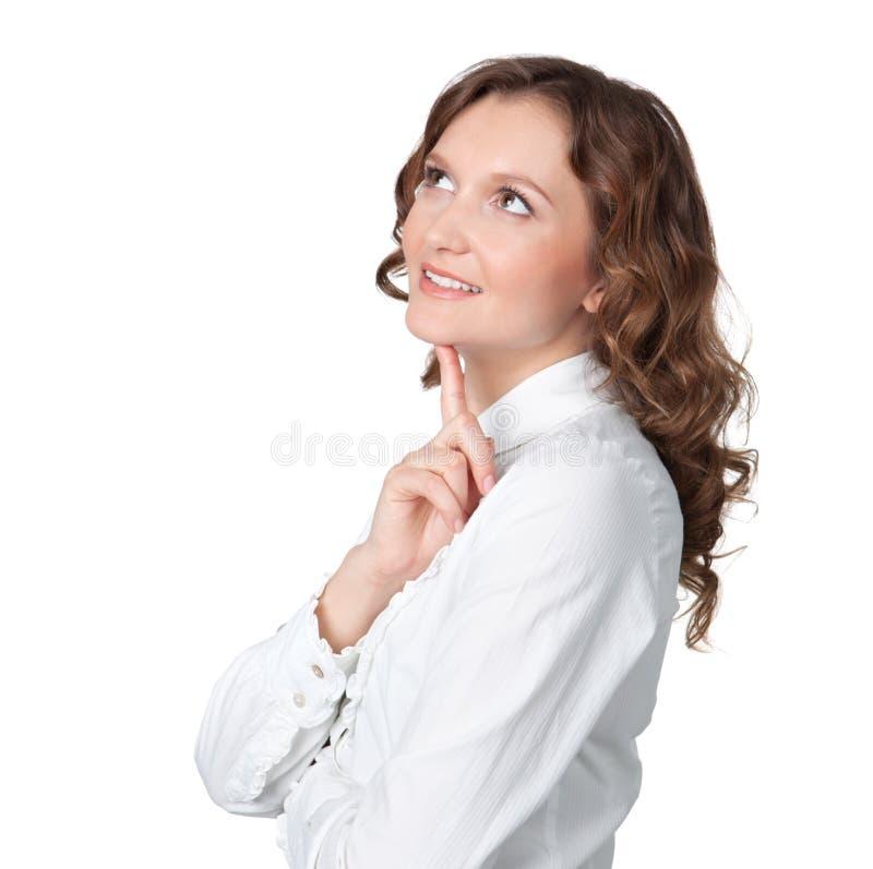 Jovem mulher bonita que daydreaming foto de stock royalty free
