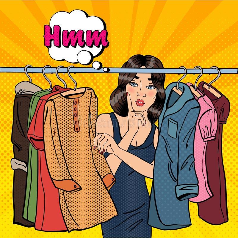 Jovem mulher bonita que escolhe a roupa em seu vestuário Pop art Vetor ilustração stock