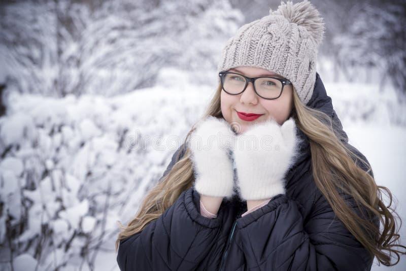 Jovem mulher bonita que levanta no parque do inverno, mais o modelo do tamanho em um fundo nevado imagem de stock