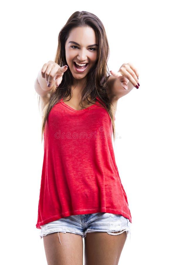 Download Mulher Feliz Que Olha E Que Aponta Foto de Stock - Imagem de bonito, confiável: 29846474