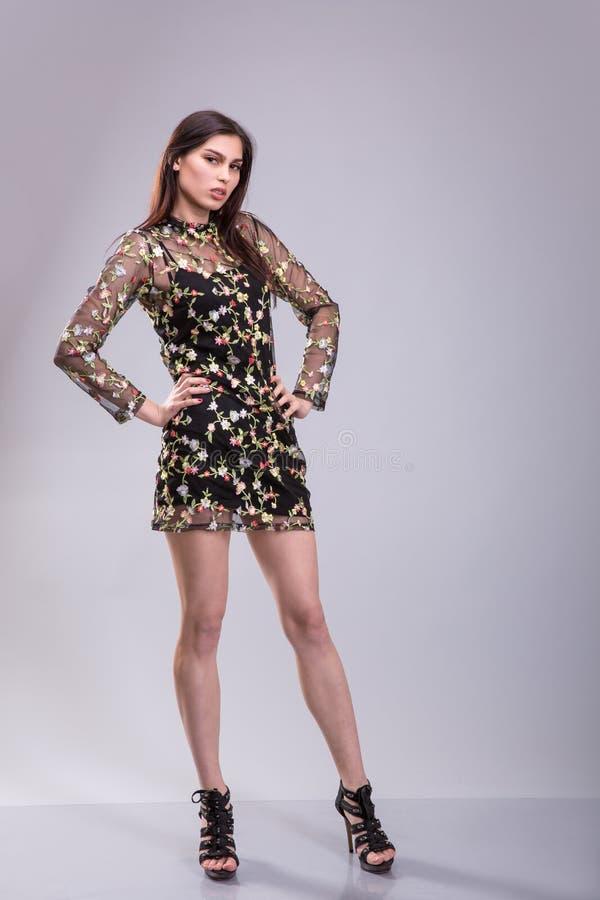 Jovem mulher bonita que veste um vestido pouco preto que levanta o tiro fullbody sobre o fundo cinzento fotografia de stock