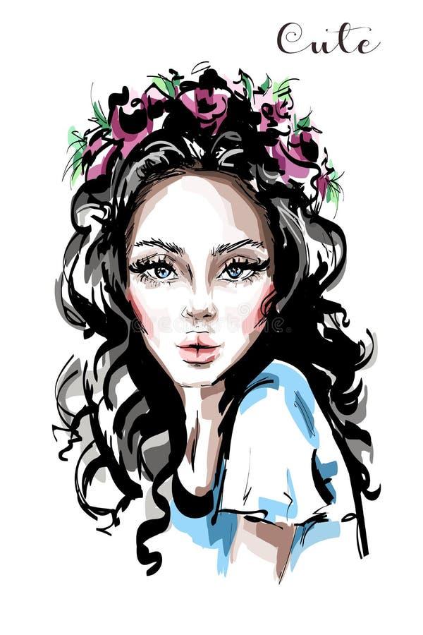 Jovem mulher bonita tirada mão com a grinalda da flor em seu cabelo Menina elegante à moda Retrato da mulher da forma ilustração royalty free