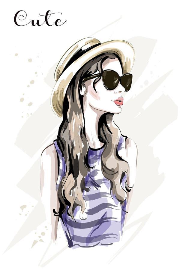 Jovem mulher bonita tirada mão no chapéu Mulher da forma nos óculos de sol Menina bonito à moda esboço ilustração do vetor