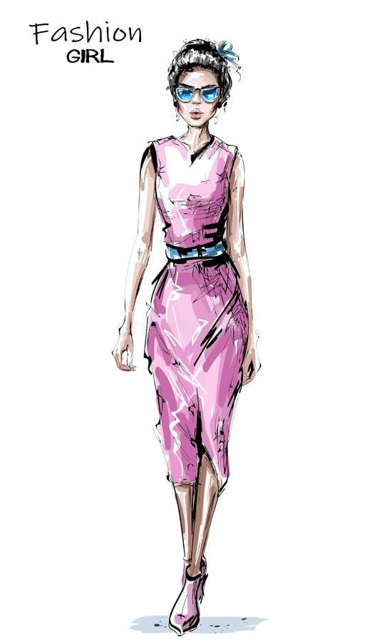 Jovem mulher bonita tirada mão no vestido cor-de-rosa Menina elegante à moda Olhar da mulher da forma ilustração do vetor