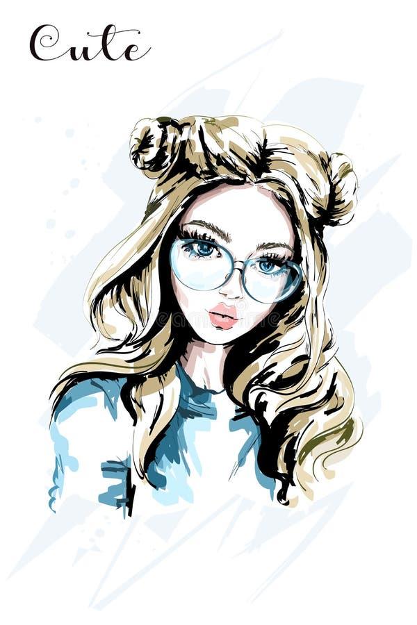 Jovem mulher bonita tirada mão nos óculos de sol Menina bonito com penteado à moda Mulher da forma ilustração royalty free