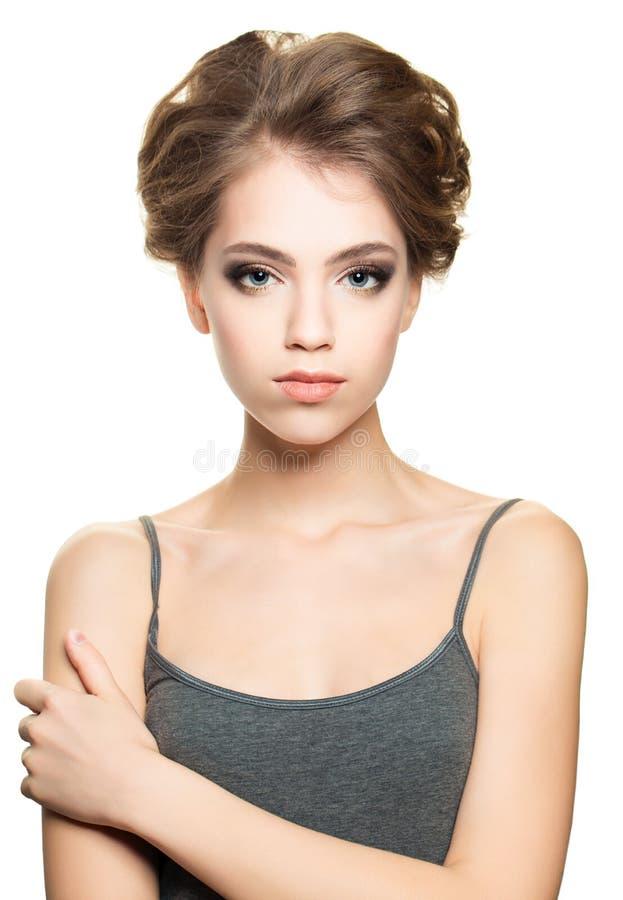 Jovem mulher bonito isolada no branco fotos de stock royalty free
