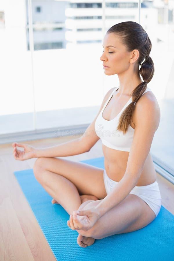 Jovem mulher calma que medita na posição de lótus fotografia de stock royalty free