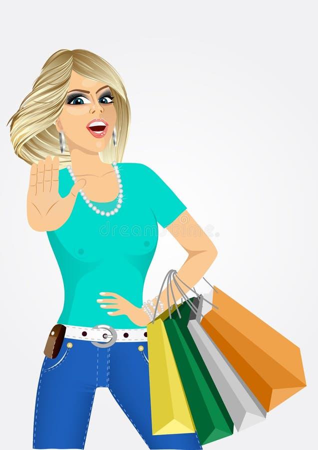 Jovem mulher Cheering com sacos de compras ilustração royalty free