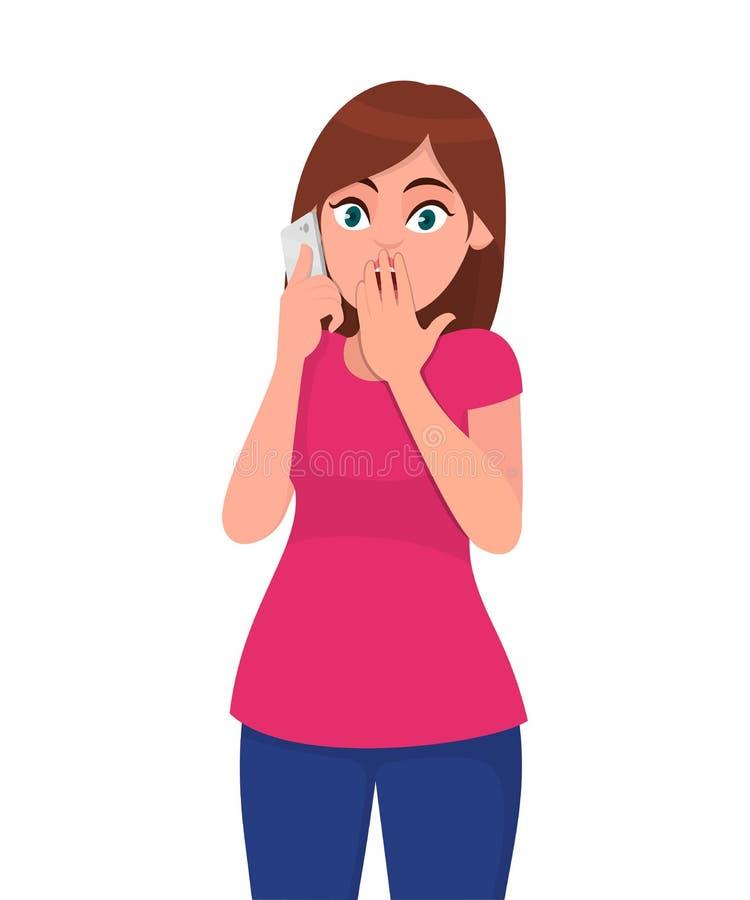 A jovem mulher chocada que fala no smartphone, cobre sua boca com a mão, chocada com vergonha para o erro, expressão do medo ilustração royalty free