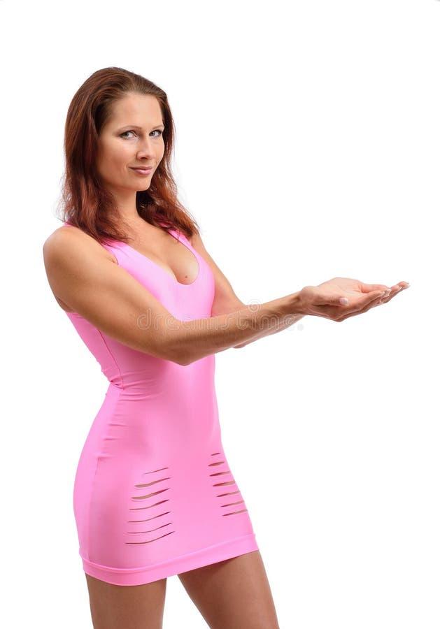 Jovem mulher com as mãos colocadas imagens de stock