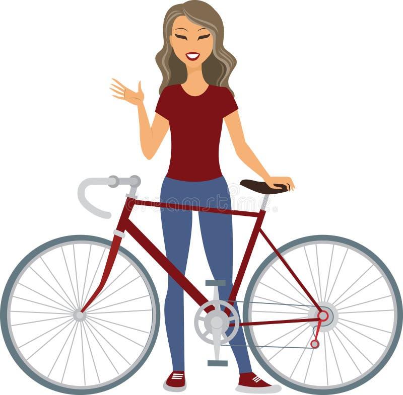 Jovem mulher com bicicleta ilustração royalty free
