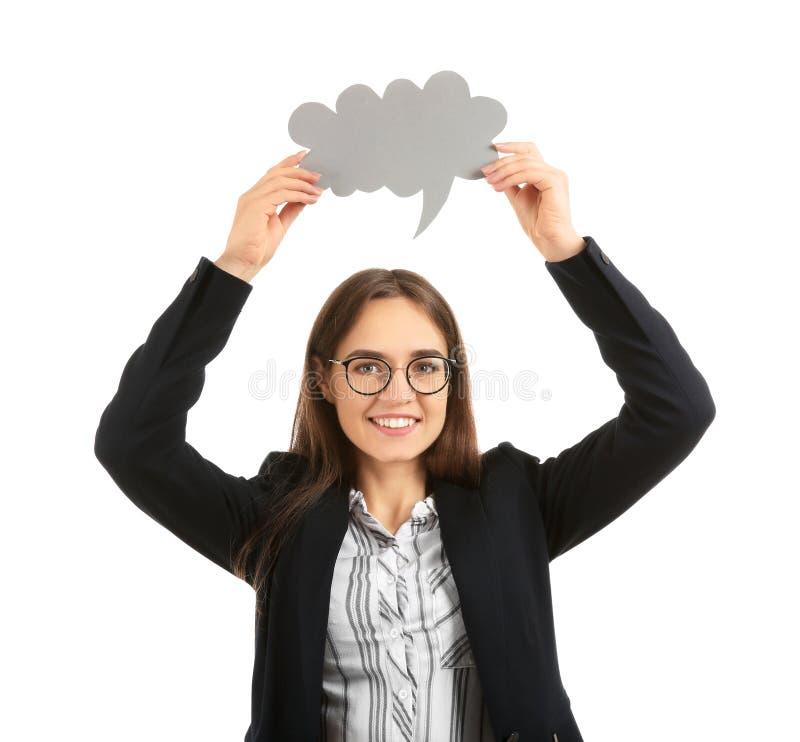 Jovem mulher com bolha vazia do discurso no fundo branco imagem de stock royalty free