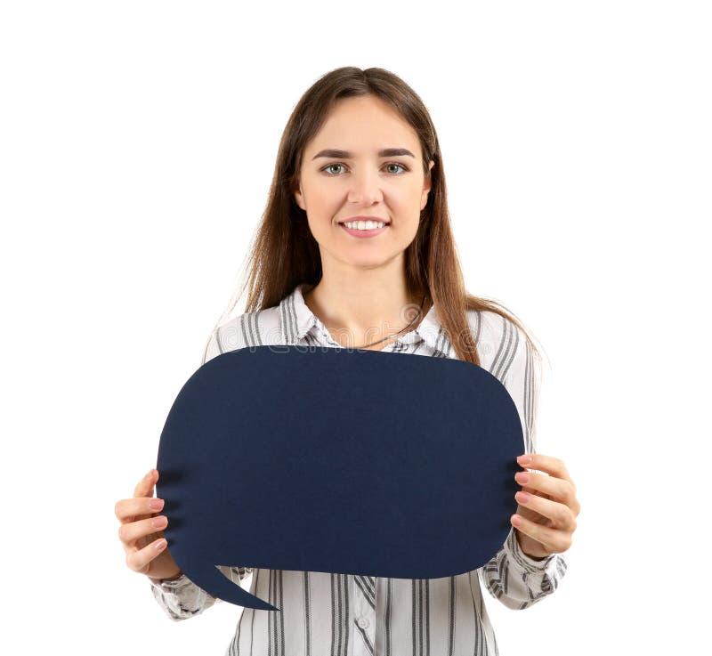 Jovem mulher com bolha vazia do discurso no fundo branco foto de stock royalty free