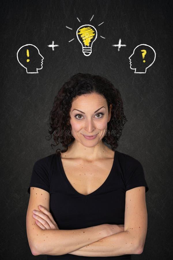Jovem mulher com braços cruzados, cabeças com! e? marcas e ideia da ampola em um fundo do quadro-negro imagens de stock royalty free