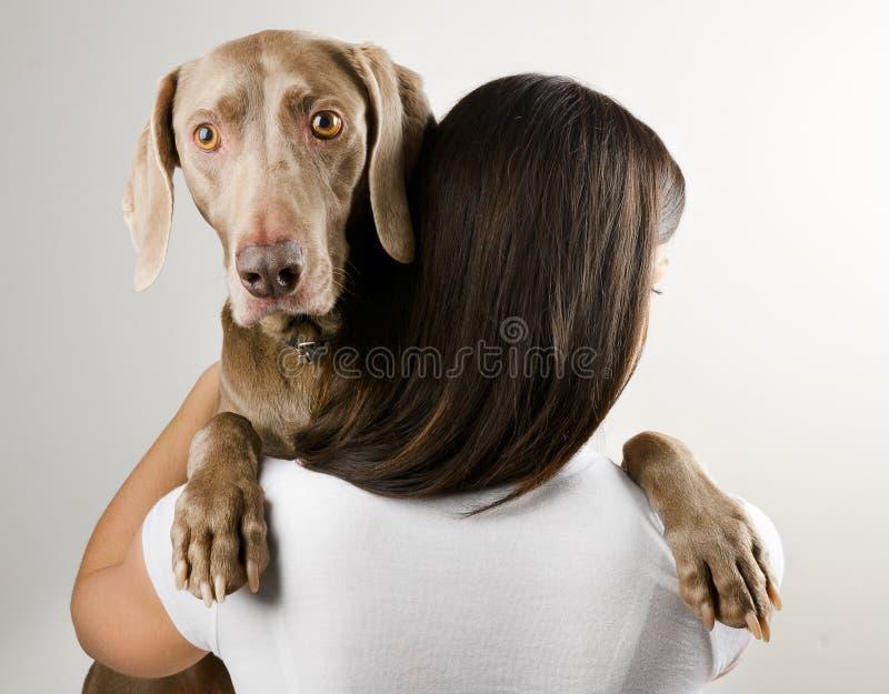 Jovem mulher com cão fotografia de stock royalty free