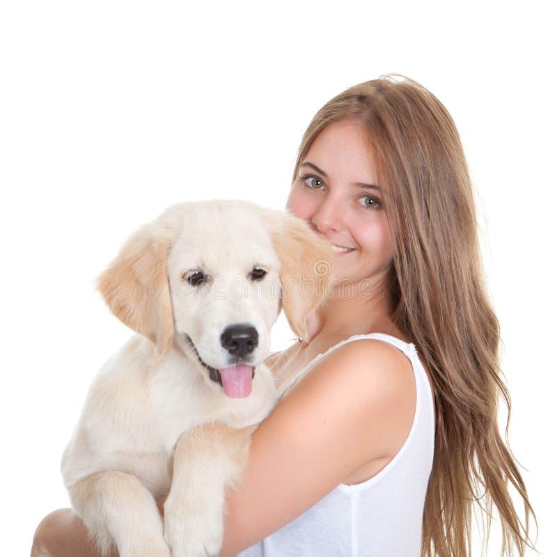 Jovem mulher com cão de estimação imagens de stock