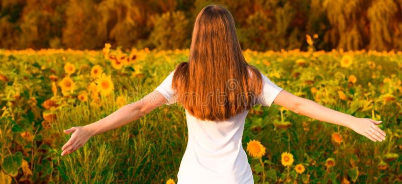 Jovem mulher com cabelo longo no campo do girassol com mãos acima Menina que aprecia fora a natureza fotografia de stock