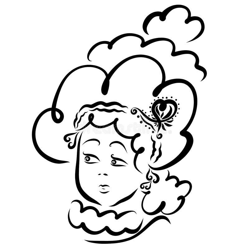 Jovem mulher com cabelo luxúria, bola ou celebração ilustração do vetor