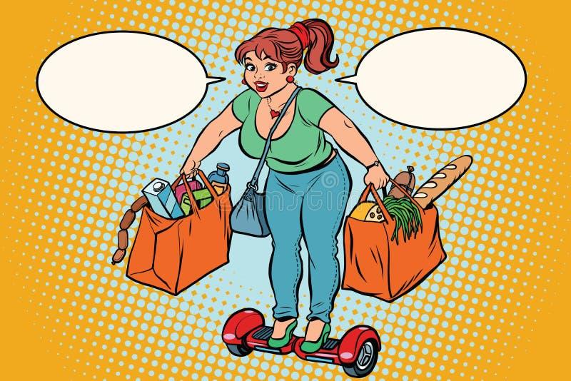 Jovem mulher com compras na mercearia no gyrometer ilustração royalty free