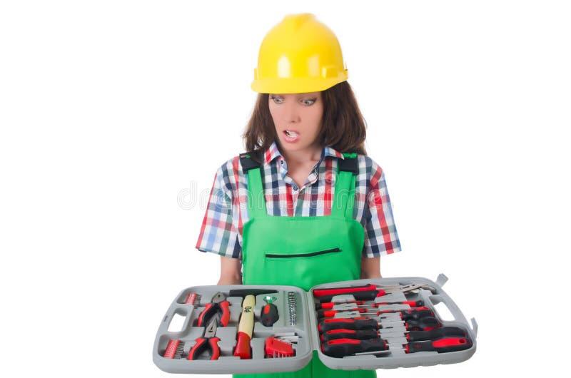 Jovem mulher com conjunto de ferramentas foto de stock