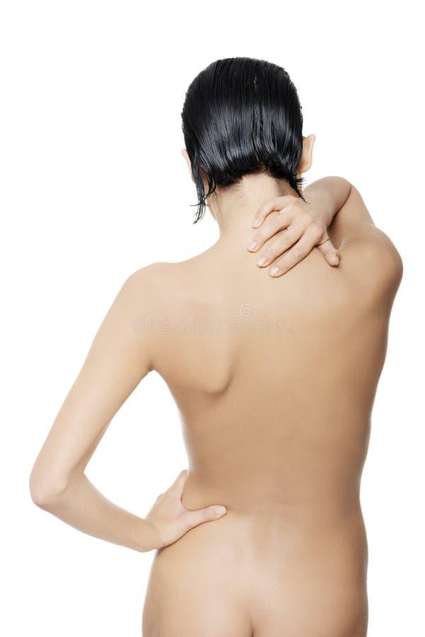 Download Jovem Mulher Com Dor Nela Para Trás. Foto de Stock - Imagem de saúde, ache: 29827370