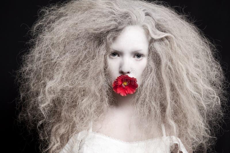 Jovem mulher com a flor vermelha na boca fotografia de stock royalty free