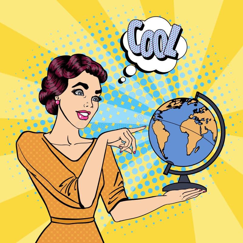 Jovem mulher com globo Pop art ilustração stock