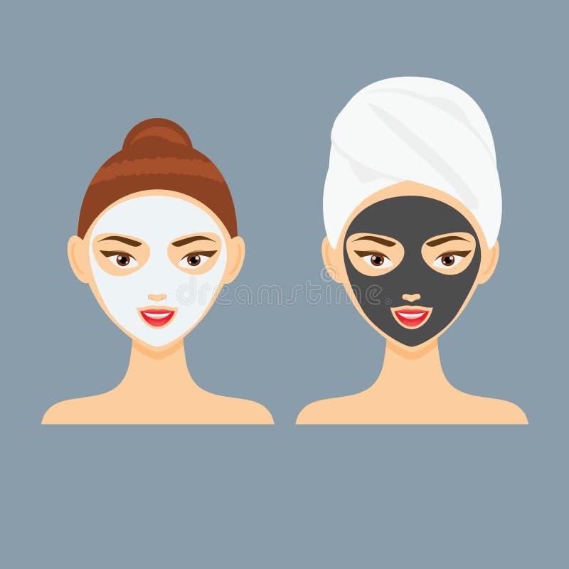 Jovem mulher com ilustração facial cosmética do vetor da máscara da argila e do carvão vegetal ilustração stock