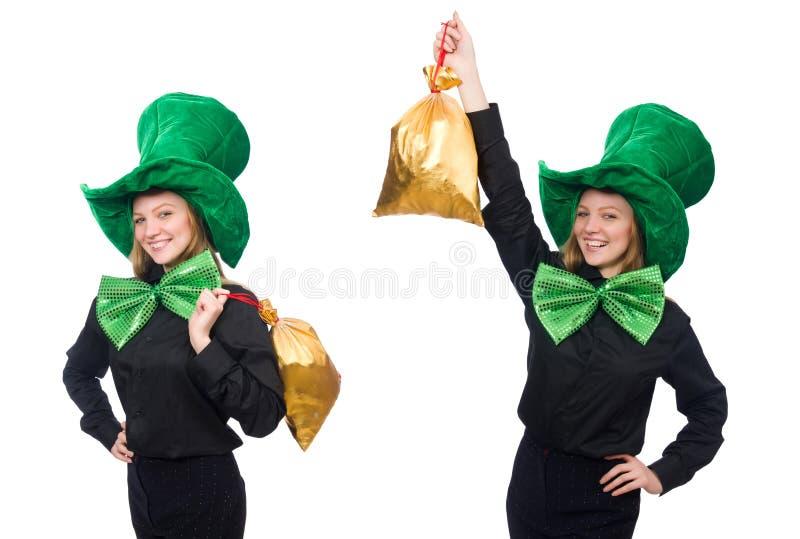 A jovem mulher com la?o gigante verde imagem de stock royalty free