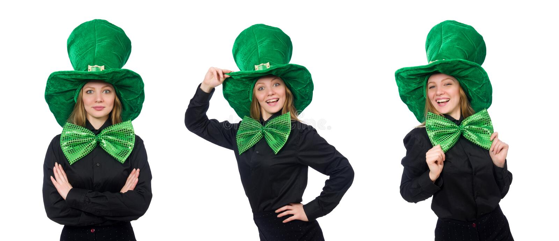 A jovem mulher com la?o gigante verde imagens de stock