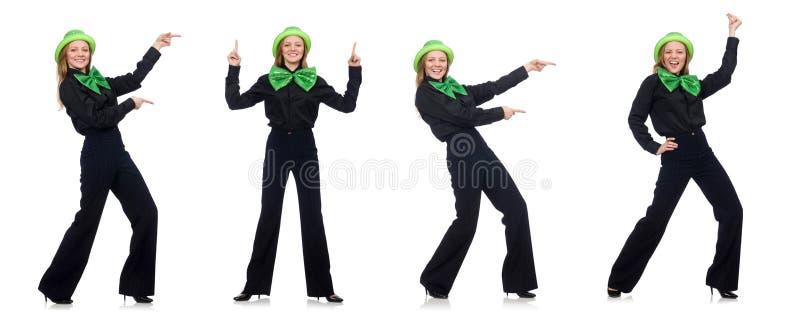 Jovem mulher com la?o gigante verde imagens de stock