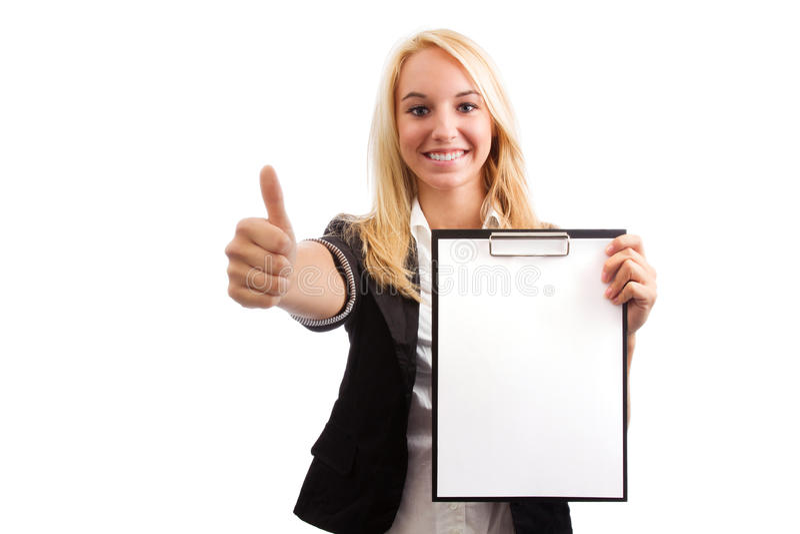 Jovem mulher com lista de verificação fotos de stock