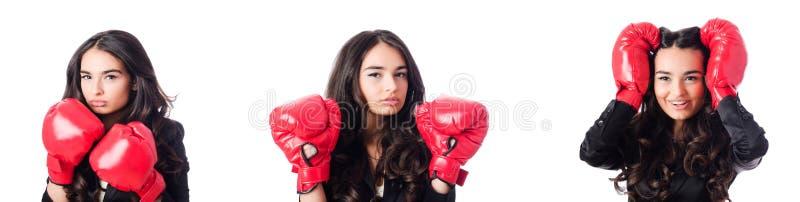 A jovem mulher com luva de encaixotamento fotos de stock royalty free