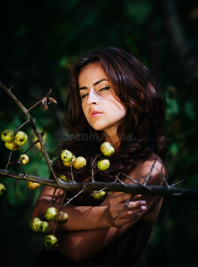 Jovem mulher com maçãs selvagens fotos de stock