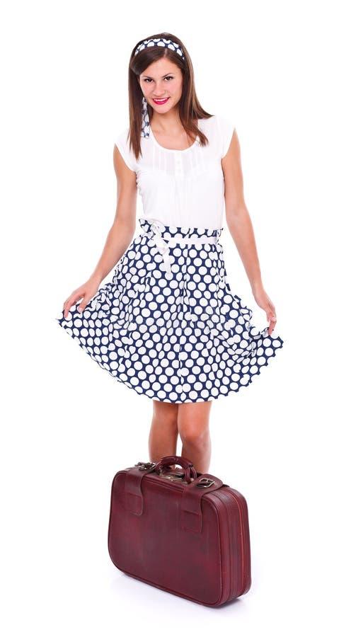 Jovem mulher com mala de viagem fotografia de stock