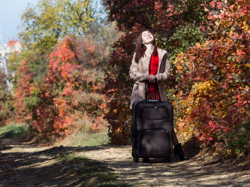 Jovem mulher com a mala de viagem do rolamento na estrada secundária na floresta imagem de stock