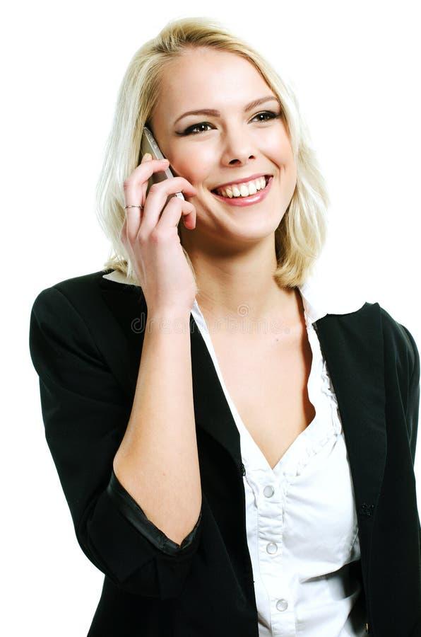 Jovem mulher com mobil fotografia de stock